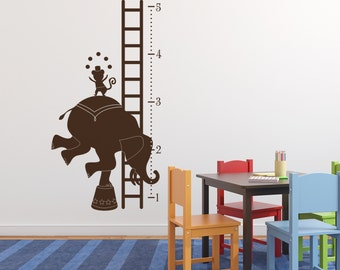 Circus Growth Chart Vinyl Wall Decal, Wall Graphic, Vinyl Wall Graphic, Elephant, Monkey, Juggling, Height Chart, Sticker,  30028