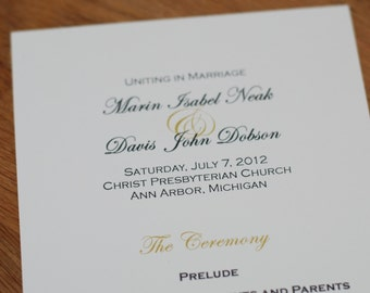 Digital Files Only - Elegant Text Design Double-Sided Wedding Program
