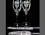 Day of the Dead Wedding Cake Server & Champagne Flute Set Sugar Skull Wedding Decor, Table Settings