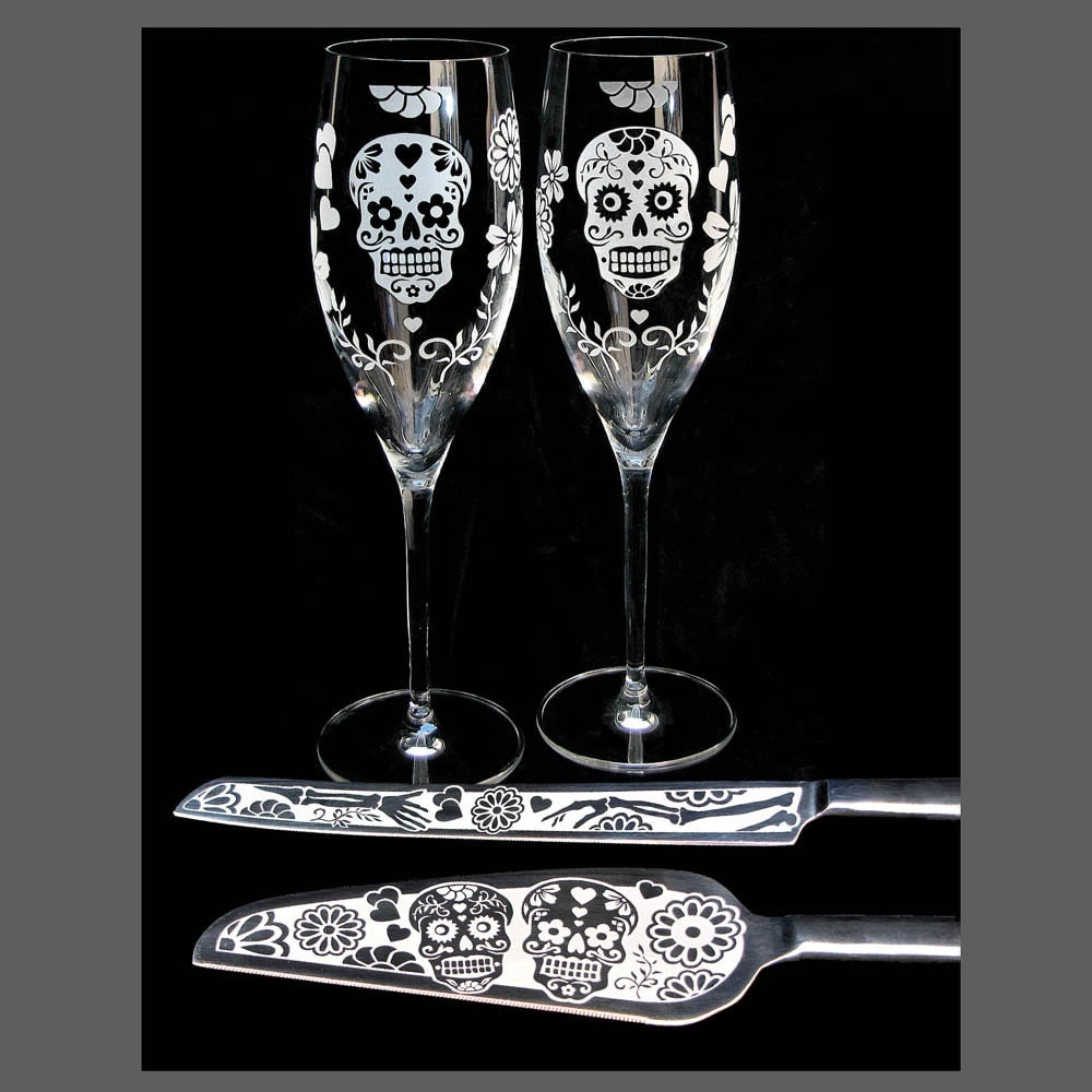 day of the dead wedding cake server champagne flute set