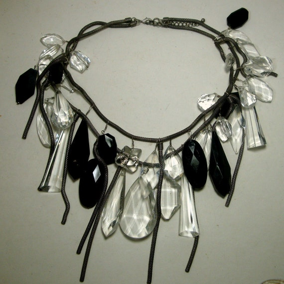 Statement Black White Lucite Charm Necklace, Dramatic Snake Chains  Wacky Wild Grand Entrance, Sample, Metro Tribal