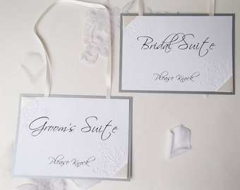 Bridal Suite and Groom's Suite Signs- Please Knock-Floral embossed corners-Ribbon wrapped-Set of 2