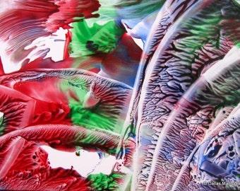 4X6 Gravity Lost. Encaustic (Wax) Original Painting. SFA (Small Format Art). Red. Blue. Green