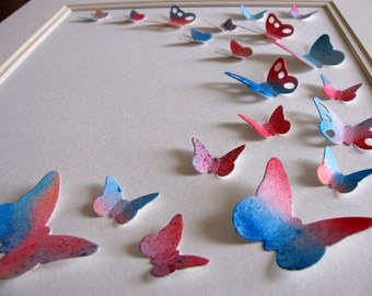 INVENTORY CLEARANCE 8x10 Watercoloured Butterfly 3D Paper Art. Cerulean Blue, Rose Red, Turquoise. Ready to Ship