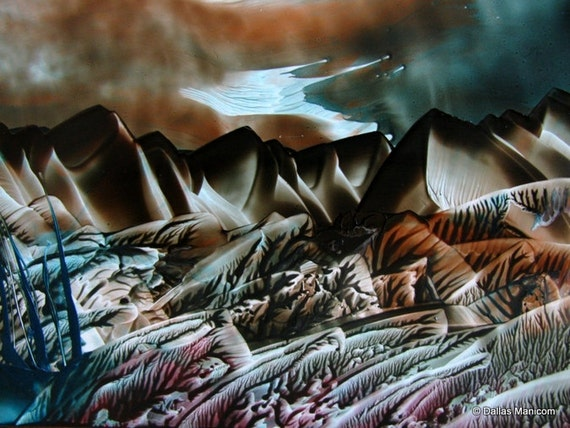 4X6 Tolkein's Land of Mordor - Encaustic (Wax) Original Painting. SFA (Small Format Art) Middle Earth. Teal. Brown