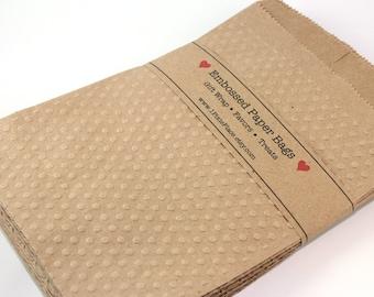 Embossed Kraft Paper Bags - Favor bags, gift wrap, treat bags - LARGE