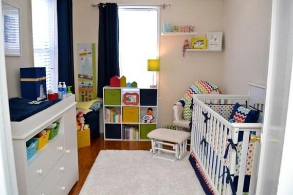 Modern Bright Chevron and Polka Dot Crib Bedding