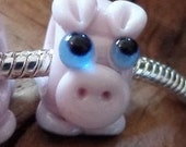 Handcrafted Artisan Lampwork Critter Glass Euro Charm Bead Pig