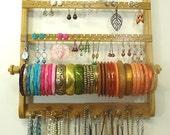 Earring Holder Bracelet Bangle, Necklace Organizer Jewelry Display, Gorgeous Oak Wood, Wall Mounted, Honey Stained Hardwood, Bangle Rod