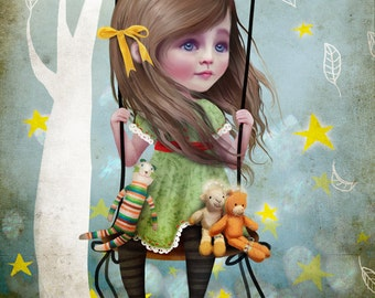Fine Art Print - 'Willow' - Medium 8x10 or 8.5x11 - Cute Little Girl on Swing on Moon - Lowbrow Art by Jessica von Braun
