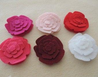 48 Pcs. Die Cut Felt  Flowers (Style R12) Valentines