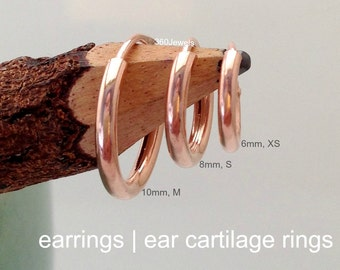 Mens Earrings or Ear Cartilage Wire Hoops - Endless Infinity Hoop Earrings - Helix Tragus - Silver plated with 18K Rose Gold  553 554 555R