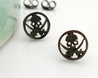 Men's stud earrings, men's earrings studs, skull stud earrings, black skull earrings, skull and sword stud earrings, black gold studs, 468G1