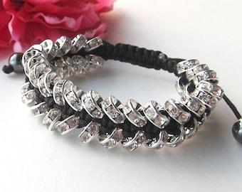rhinestones macrame bracelet  - bohemian gift - friendship bracelet - gift for her - women's gift - bling bracelet - handmade jewelry gift