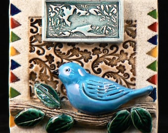 Ceramic tile, Bird on Branch