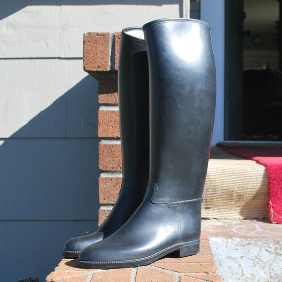 Rubber Black Riding Boots