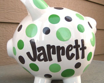 Custom Polka Dot Large Piggy Bank Green and Brown