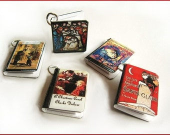 Christmas Miniature Book Charms Classics and Traditional -  Set of all 5 Mini Books