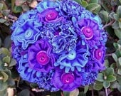 Shades of Purple and Blue Fabric Button Bouquet Wedding Mothers Day Spring
