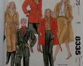 McCall's 8335 Size 10 Misses' Coat, Jacket, Skirt, and Pants Pattern UNCUT