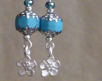 Earrings, blue sky Spring Flowers, silver