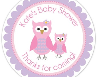 Pink Owl Baby Shower Labels, Mommy and Baby Owl Custom Stickers - Personalized for YOU