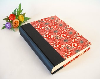 Photo album (8x10) Black silk cloth with red peony Japanese chiyogami