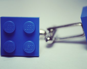 Made from Lego (r) 2x2 Electric Blue Tile Cufflinks