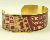 She Is Too Fond Of Books - Louisa May Alcott Literature Quote Slim Brass Cuff in Purple - Book Jewelry