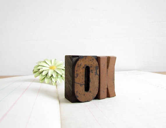 Vintage Wooden Letterpress Blocks 'OK'