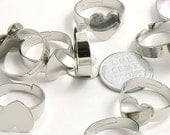 Blank Rings - 17mm Silver Finish Ring Bases or Blank Rings - 5 pc set