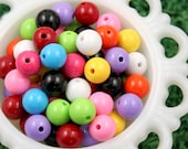 Resin Beads - 14mm Gumball Bubblegum Resin or Acrylic Beads - 30 pcs set