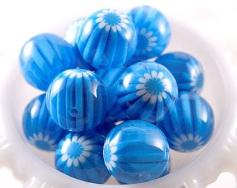 22mm Aqua Blue Blossom Chunky Resin Beads - 6 pc set