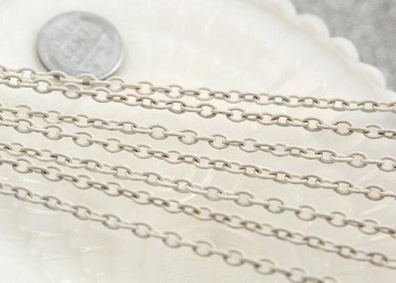 White Chain - 5mm White Enamel Chain - 10 feet / 3 meters