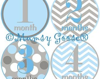 Baby Boy Monthly Age Stickers Baby Months Stickers Blue Grey Chevron Milestone