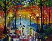 "Couple Couples Girlfriend Boyfriend In LOVE Bench Park Lights Giclee Art Print Wall Art  ""I Got You Babe"" Leslie Allen Fine Art"