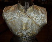 Vintage Lemon Yellow Cheongsam Qi Pao Asian Chinese Brocade Floral Dragon Prom Wedding Dress 1950's 1960's
