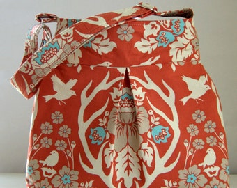 Terracotta Antler Damask Fabric Small Pleated Hobo Handbag / Purse