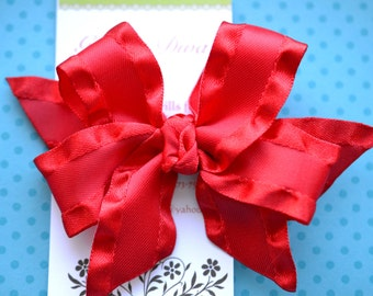 Red Double Ruffle Classic Diva Bow