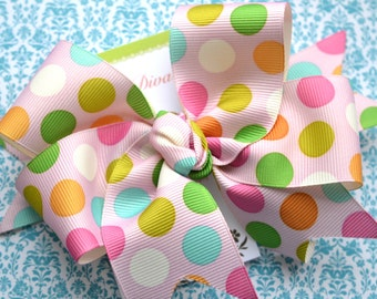 Spring Dots on Pink XL Diva Bow