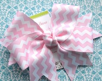 Light Pink and White Chevron XL Diva Bow