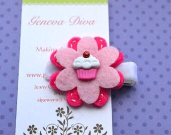 Pink Cupcake Felt Flower Clip
