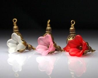 Vintage Style Bead Dangles Lucite Flowers Mix MX112