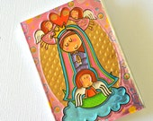 Baptism favor / First communion favor / Pink Virgen de Guadalupe Hand embossed metal mini prayer book
