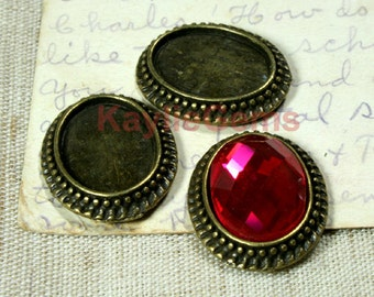 Cabochon Setting Frame for 13x18mm Oval Cab Antique Brass  -FRM-12063AB-4pcs