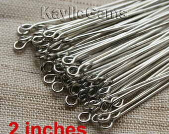 Antique Silver Tone Eye Pins 50mm 2 inches 21 Gauge - 100 pcs
