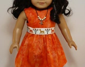 SALE American Girl 18 inch doll - dress with poodle belt and necklace