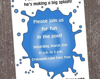 Pool Party Invitations 1.00 each with envelope