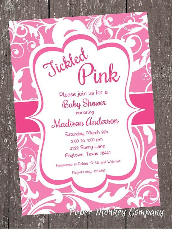 Tickled pink baby shower invitation 100 each with envelope by il570xn filmwisefo