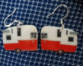 Red and White Camper Trailer Earrings